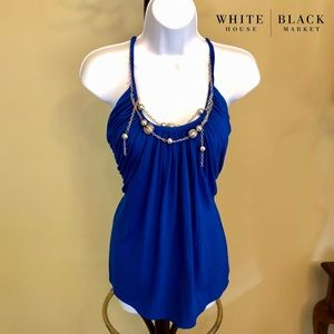 NWOT vibrant WHBM tank with attached necklace!